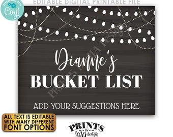 """Editable Bucket List Sign, Share Your Suggestions Here, Custom PRINTABLE 8x10/16x20"""" Chalkboard Style Sign <Edit Yourself w/Corjl>"""