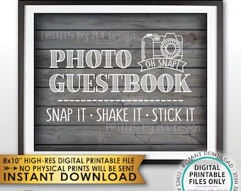 "Photo Guestbook Sign, Snap It Shake It Stick It, Add photo to the Guest Book Sign, PRINTABLE 8x10"" Rustic Wood Style Instant Download Sign"