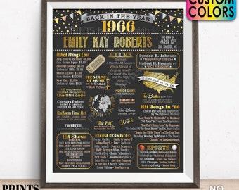 "Back in 1966 Birthday Poster Board, Flashback to 1966 Birthday Decoration, B-day Gift, Custom PRINTABLE 16x20"" 1966 Sign"