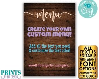 "Editable Menu, PRINTABLE 5x7"" Rustic Wood Style Sign with Custom Colors, Wedding Anniversary, Retirement, Graduation <Edit Yourself w/Corjl>"