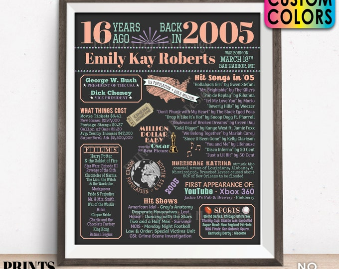 """16th Birthday Poster Board, Sweet Sixteen Bday Decor, Back in 2005 Flashback 16 Years Ago B-day Gift, Custom PRINTABLE 16x20"""" 2005 Sign"""
