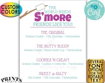 """S'mores Sign, The World Needs S'more Friends Like You, Custom PRINTABLE 8x10/16x20"""" Smore Menu Sign <Edit Yourself with Corjl>"""