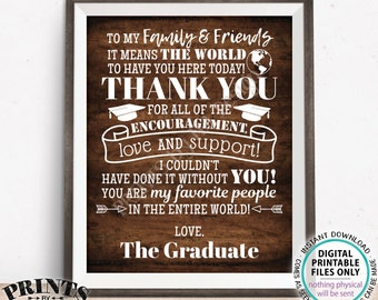 """Graduation Party Thank You Sign, Thanks from the Graduate Grad Party Decoration, PRINTABLE 8x10/16x20"""" Rustic Wood Style Grad Sign <ID>"""