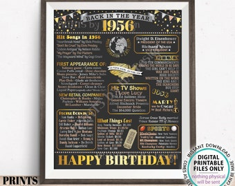 """Back in the Year 1956 Birthday Sign, Flashback to 1956 Poster Board, '56 B-day Gift, Bday Decoration, PRINTABLE 16x20"""" Sign <ID>"""