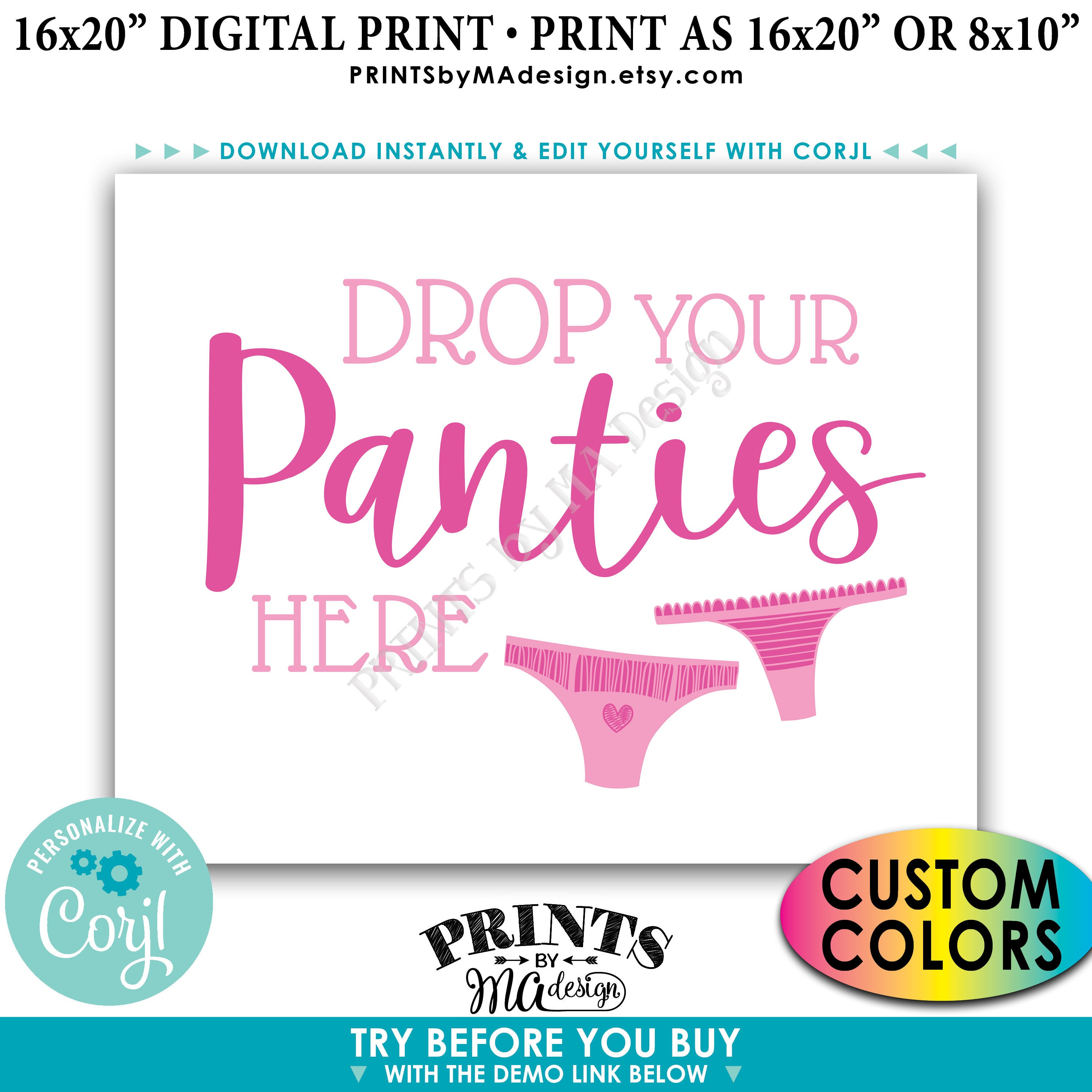 Drop Panties Here Panty Game Bridal Shower Bachelorette