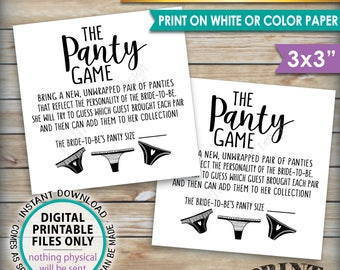 """Panty Game Cards, Guess the Panties Bachelorette Party Game, Bridal Shower Game, Panties Game PRINTABLE 3x3"""" Cards on 8.5x11"""" sheet <ID>"""