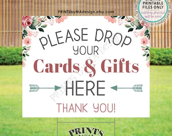 """Please Drop Cards & Gifts Here, Drive-By Event Sign, Bridal Shower, Baby Shower, Rose Gold Blush Pink Floral PRINTABLE 16x20"""" Yard Sign <ID>"""