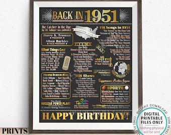 "Back in 1951 Birthday Poster Board, Flashback to 1951 Birthday Decoration, '51 B-day Gift, PRINTABLE 16x20"" Sign, Birthday Decor <ID>"