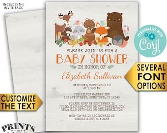 "Woodland Animals Baby Shower Invitation, Forest Friends Fox Deer Bear Beaver, Custom PRINTABLE 5x7"" Digital File <Edit Yourself with Corjl>"