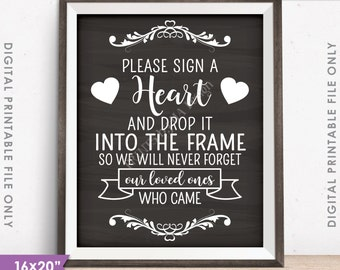 """Guestbook Hearts Sign a Heart Guest Book Alternative, Wooden Hearts Sign, Instant Download Chalkboard Style PRINTABLE 8x10/16x20"""" Heart Sign"""