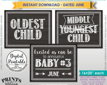 3rd Baby Pregnancy Announcement, Oldest Middle Youngest, Baby Number 3 due JUNE Dated Chalkboard Style PRINTABLE 3rd Baby Reveal Signs <ID>