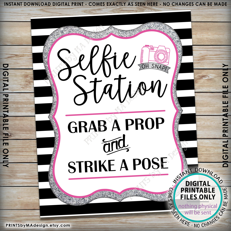 PRINTABLE Black /& Silver 8x1016x20\u201d Sign Grab a Prop and Strike a Pose Selfie Station Sign Wedding Birthday Anniversary Graduation