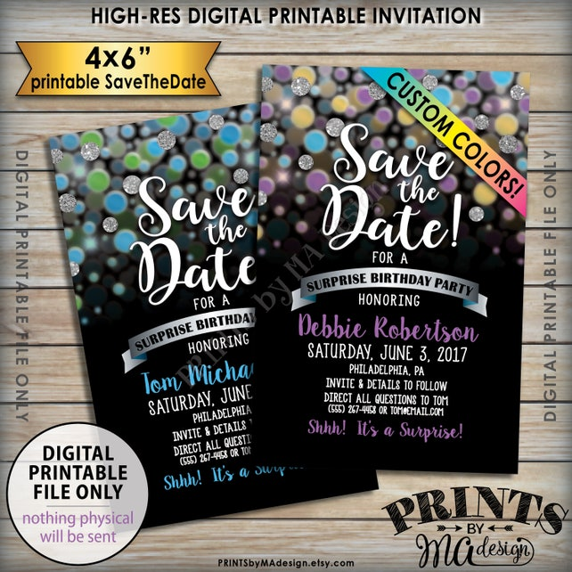 Save The Date For A Surprise Birthday Party Custom Color Glitter Invite