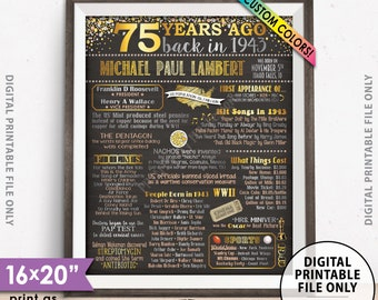 "1943 Birthday Poster, 75th Birthday Gift, Back in 1943 Flashback 75 Years Ago, 1943 Bday, Chalkboard Style PRINTABLE 8x10/16x20"" 1943 Poster"