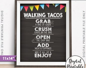 """Walking Tacos Sign, Taco Bar, Fiesta Cinco de Mayo Sweet Sixteen Birthday, 11x14"""" Chalkboard Style Instant Download Digital Printable"""