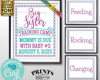 """Big Sister Training Pregnancy Announcement Signs, Four Editable PRINTABLE 8x10/16x20"""" Signs <Edit Yourself w/Corjl>"""