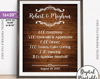 "Wedding Schedule Sign, Wedding Day Events, Reception Schedule Wedding Itinerary List of Events, 8x10/16x20"" Rustic Wood Style Printable Sign"