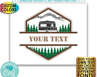 """Custom Camper Sign, Camping Adventure Sign, Choose Your Text & Colors, PRINTABLE 8x10/16x20"""" Landscape RV Sign <Edit Yourself with Corjl>"""