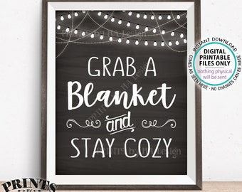 """Blanket Sign, Grab a Blanket & Stay Cozy, Warm Up Here, Rustic Wedding Sign, Warm Favors, Chilly, PRINTABLE 8x10"""" Chalkboard Style Sign <ID>"""