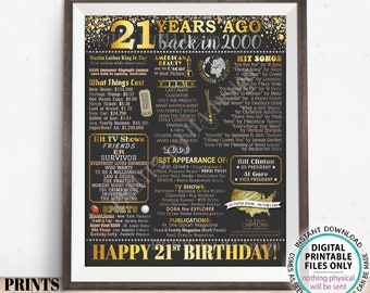 """21st Birthday Poster Board, Back in the Year 2000 Flashback 21 Years Ago B-day Gift, PRINTABLE 16x20"""" Born in 2000 Sign <ID>"""