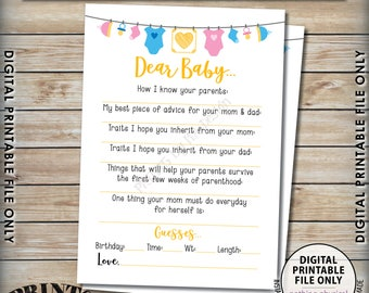 """Dear Baby Shower Activity, Baby Shower Game, Guessing Game, Baby Advice, Parent Advice, Gender Neutral 5x7"""" Printable Instant Download"""