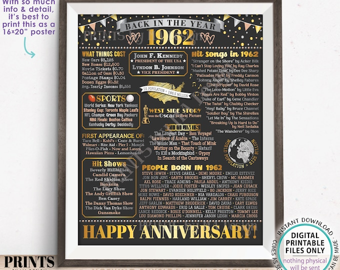 """Back in the Year 1962 Anniversary Sign, Flashback to 1962 Anniversary Decor, Anniversary Gift, PRINTABLE 16x20"""" Poster Board <ID>"""