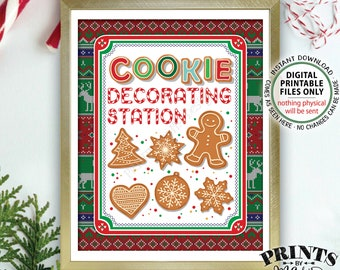 """Cookie Decorating Station Sign, Ugly Sweater Party Christmas Cookies Sign, Tacky Sweater Holiday Party, PRINTABLE 8x10"""" Cookie Sign <ID>"""