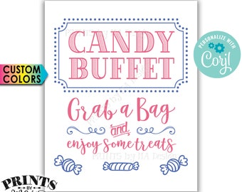 """Candy Buffet Sign, Grab a Bag & Enjoy Some Treats Sign, Candy Bar Sign, PRINTABLE 8x10"""" Sign <Edit Colors Yourself with Corjl>"""