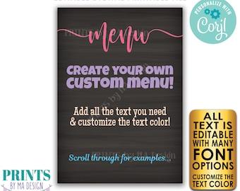 "Editable Menu, PRINTABLE 5x7"" Chalkboard Style Sign with Custom Colors, Wedding Anniversary, Retirement, Graduation <Edit Yourself w/Corjl>"
