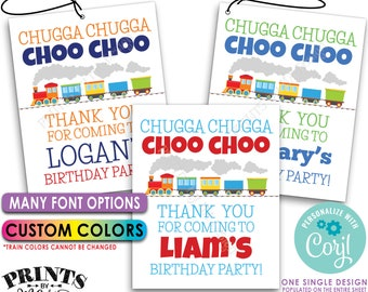 "Train Birthday Tags, Chugga Chugga Choo Choo Thank You Party Favors, PRINTABLE 8.5x11"" Sheet of 4x5"" Cards <Edit Yourself with Corjl>"