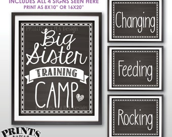 """Big Sister Training Camp Photo Props, Pregnant Baby #2 Announcement, We're Pregnant, 4 Chalkboard Style PRINTABLE 8x10/16x20"""" Signs <ID>"""
