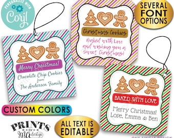 """Christmas Cookie Bakery Tags, From the Kitchen Of, Custom 2"""" Square Cards on a Digital PRINTABLE 8.5x11"""" File <Edit Yourself with Corjl>"""