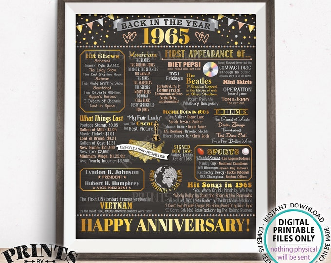 """1965 Anniversary Poster, Back in the Year 1965 Anniversary Gift, Flashback to 1965 Party Decoration, PRINTABLE 16x20"""" Sign <ID>"""