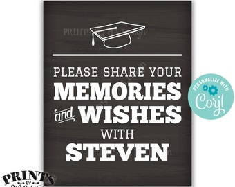 """Graduation Memories Sign, Share Memories & Wishes, Grad Party Decor, PRINTABLE 8x10/16x20"""" Chalkboard Style Sign <Edit Yourself with Corjl>"""