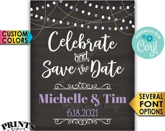 """Celebrate and Save the Date Engagement Party Decoration, PRINTABLE 8x10/16x20"""" Chalkboard Style Engagement Sign <Edit Yourself with Corjl>"""