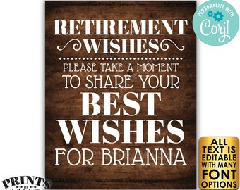 """Retirement Party Sign, Please Leave Your Best Wishes for the Retiree, PRINTABLE 8x10/16x20"""" Rustic Wood Style Sign <Edit Yourself w/Corjl>"""