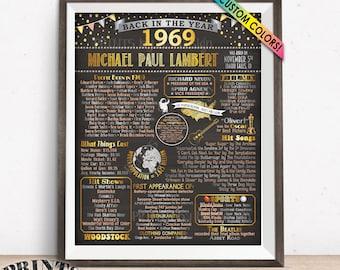 "1969 Birthday Poster, Back in 1969 Birthday Decorations, Flashback B-day Gift, Custom PRINTABLE 16x20"" Flashback Sign"