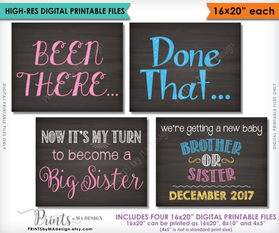 4 PRINTABLE Baby #4 Reveal Signs Been There My Turn to Become a Big Sister Pregnancy Announcement Done That