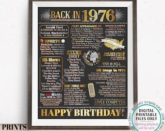 "Back in 1976 Birthday Poster Board, Flashback to 1976 Birthday Decoration, '76 B-day Gift, PRINTABLE 16x20"" Sign, Birthday Decor <ID>"