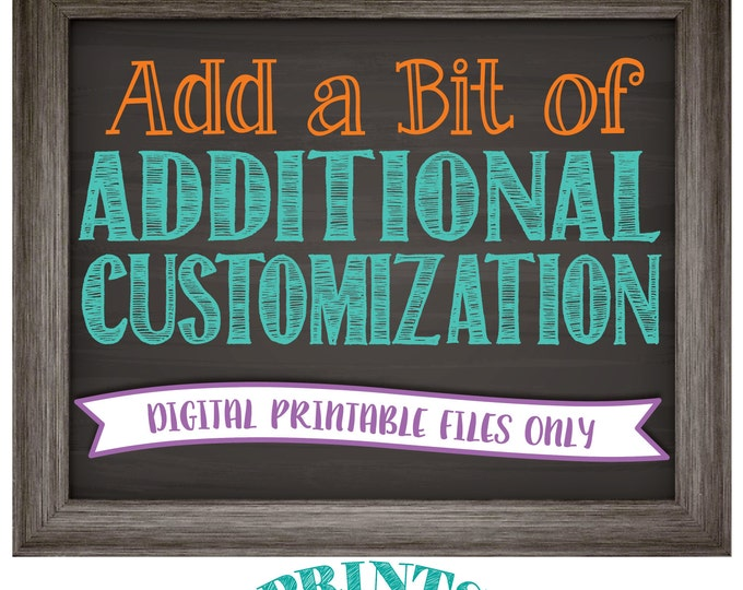 Additional Customization to an Existing Custom Print, Add Extra Custom Work to an Order, Personalized Custom Printable Digital Print