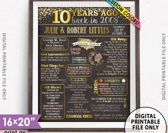 "10th Anniversary Gift, Married in 2008 Anniversary Poster, Flashback to 2008 Flashback 10 Years, Chalkboard Style PRINTABLE 8x10/16x20"" Sign"