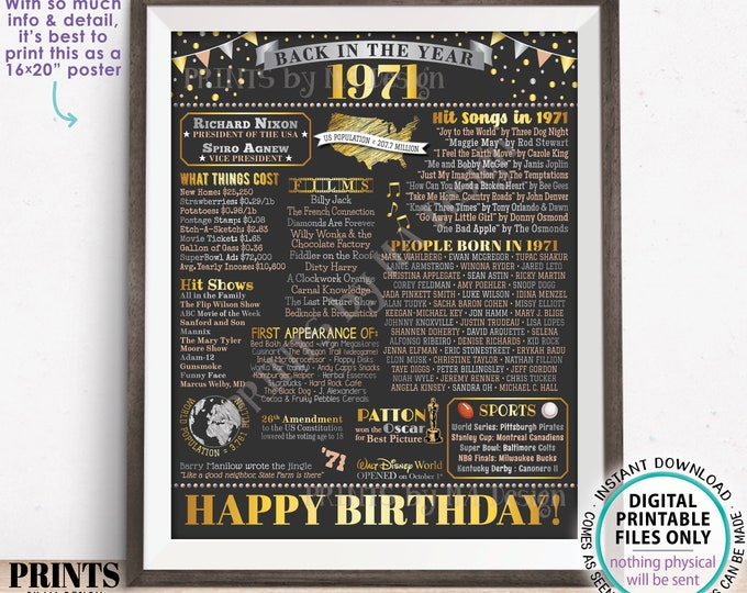 """Back in the Year 1971 Birthday Sign, Flashback to 1971 Poster Board, '71 B-day Gift, Bday Decoration, PRINTABLE 16x20"""" Sign <ID>"""