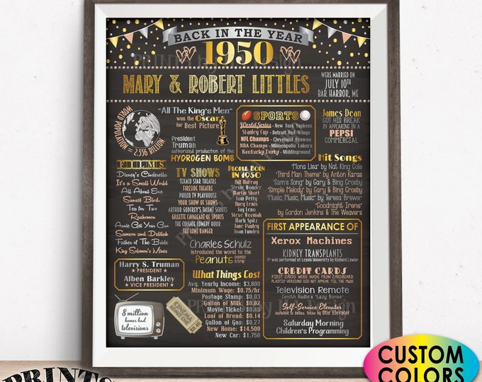 """Back in the Year 1950 Anniversary Sign, 1950 Anniversary Party Decoration, Gift, Custom PRINTABLE 16x20"""" Flashback to 1950 Poster Board"""