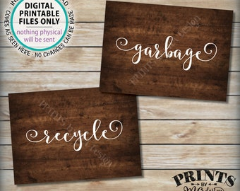 """Garbage and Recyclable Signs, Trash & Recycling, Party Clean Up the Mess, 2 PRINTABLE 5x7"""" Rustic Wood Style Signs <ID>"""