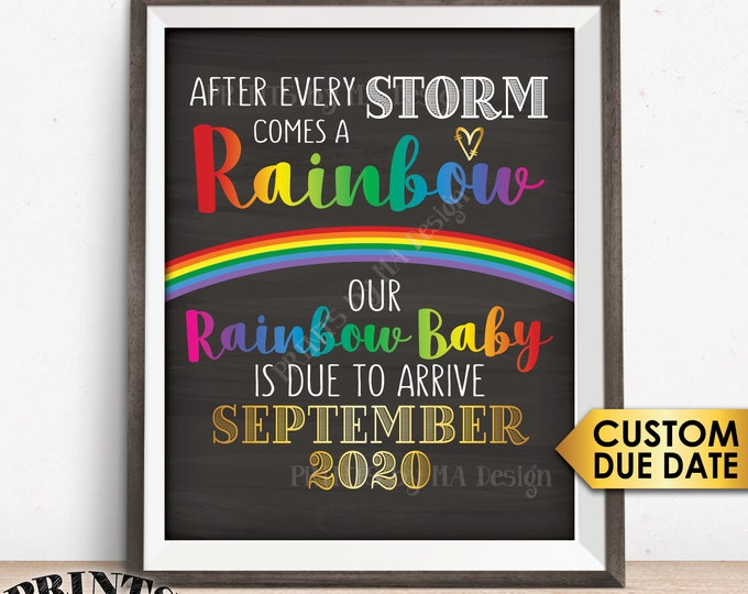 """Rainbow Baby Pregnancy Announcement, Pregnancy Reveal After Loss, We're Expecting, Chalkboard Style PRINTABLE 8x10/16x20"""" Rainbow Baby Sign"""