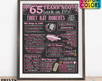 """65th Birthday Poster Board, Back in 1956 Flashback 65 Years Ago B-day Gift, Custom PRINTABLE 16x20"""" Born in 1956 Sign"""