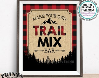 """Trail Mix Bar Sign, Make Your Own Trail Mix Lumberjack Style Trail Mix Decor, Red Checker Buffalo Plaid, PRINTABLE 8x10"""" Trail Mix Sign <ID>"""