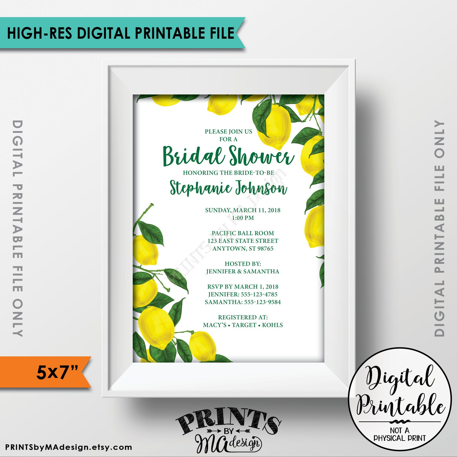 Lemon bridal shower invitation lemon invitation lemon shower lemon bridal shower invitation lemon invitation lemon shower invite tuscan tropical bridal shower invitation 5x7 digital printable file filmwisefo