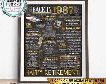 """Retirement Party Decorations, Back in 1987 Poster, Flashback to 1987 Retirement Party Decor, Chalkboard Style PRINTABLE 16x20"""" Sign <ID>"""