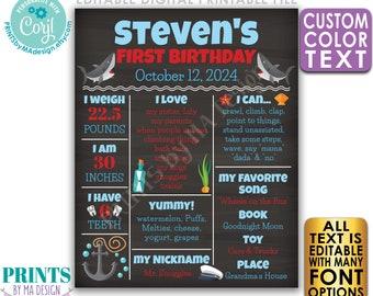 Shark First Birthday Poster, Editable 1st B-day Stats Sign, Nautical Sailor, Custom PRINTABLE Chalkboard Style Sign <Edit Yourself w/Corjl>